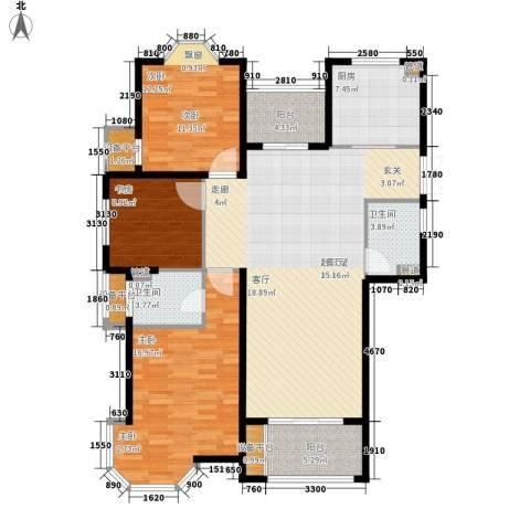润达锦秀河山3室0厅2卫1厨124.00㎡户型图