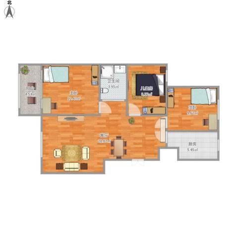 山景御园3室1厅1卫1厨99.00㎡户型图