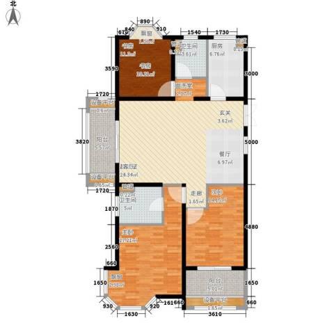 润达锦秀河山3室0厅2卫1厨128.00㎡户型图
