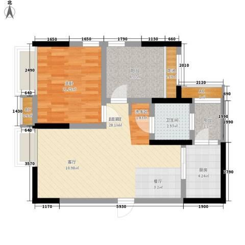 世豪广场1室0厅1卫1厨68.00㎡户型图