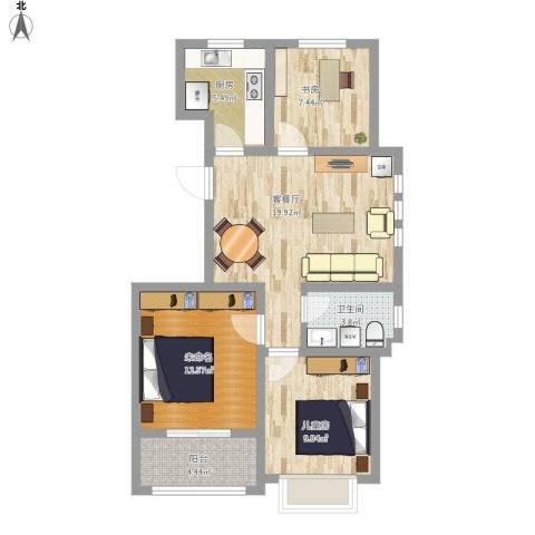 滨湖御景湾2室1厅1卫1厨93.00㎡户型图
