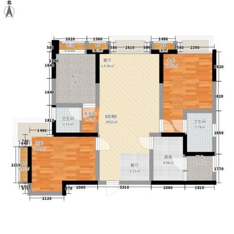 世豪广场2室0厅2卫1厨95.00㎡户型图