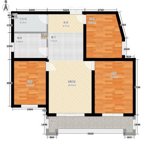檀香湾3室0厅1卫1厨118.00㎡户型图