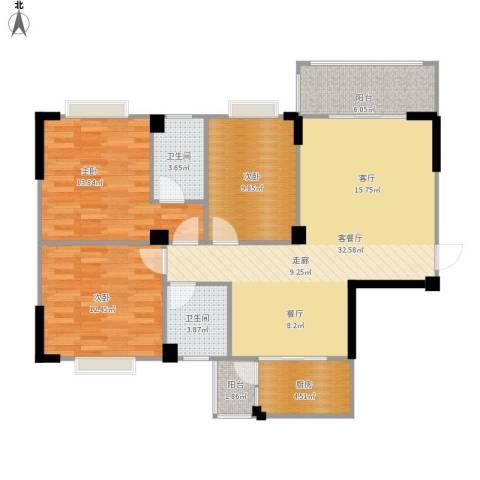 阳光花园3室1厅2卫1厨122.00㎡户型图