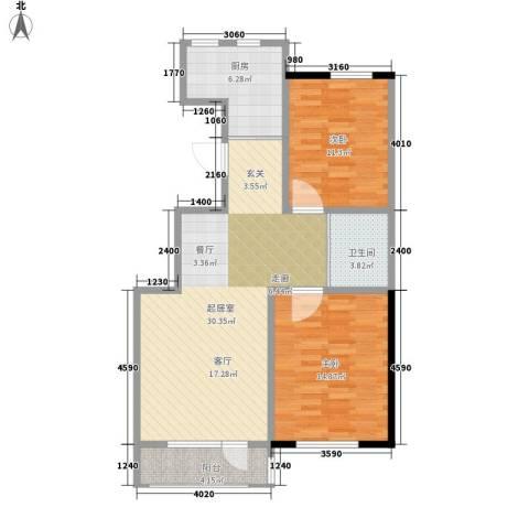 保利香槟花园一期2室0厅1卫1厨101.00㎡户型图