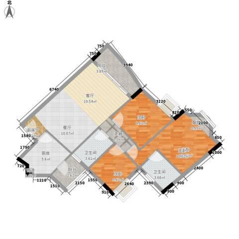 雅致花园3室1厅2卫1厨101.00㎡户型图