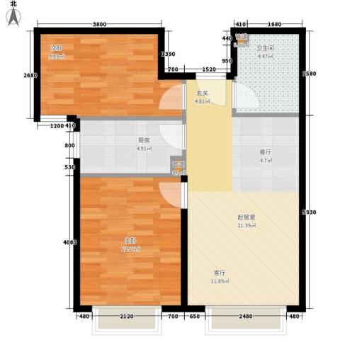 怀庆里2室0厅1卫1厨74.00㎡户型图