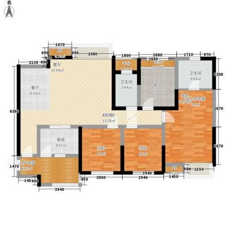 世豪广场3室0厅2卫1厨123.00㎡户型图