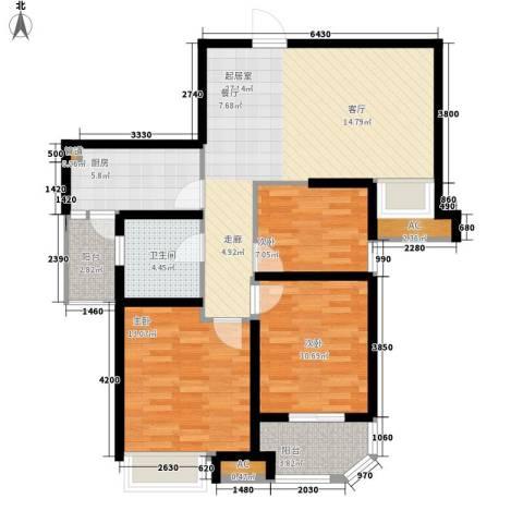 龙商荣域3室0厅1卫1厨112.00㎡户型图