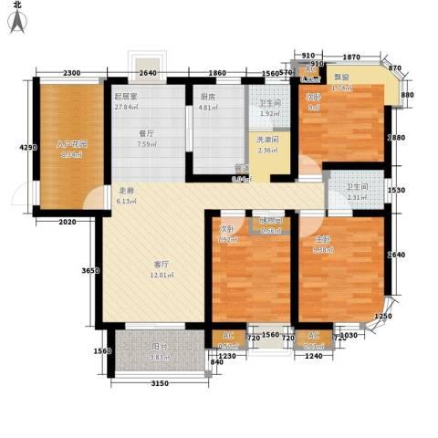 龙商荣域3室0厅2卫1厨144.00㎡户型图