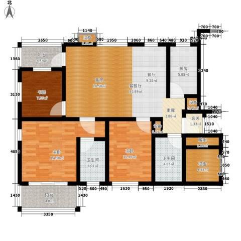海御阳光三期3室1厅2卫1厨110.00㎡户型图