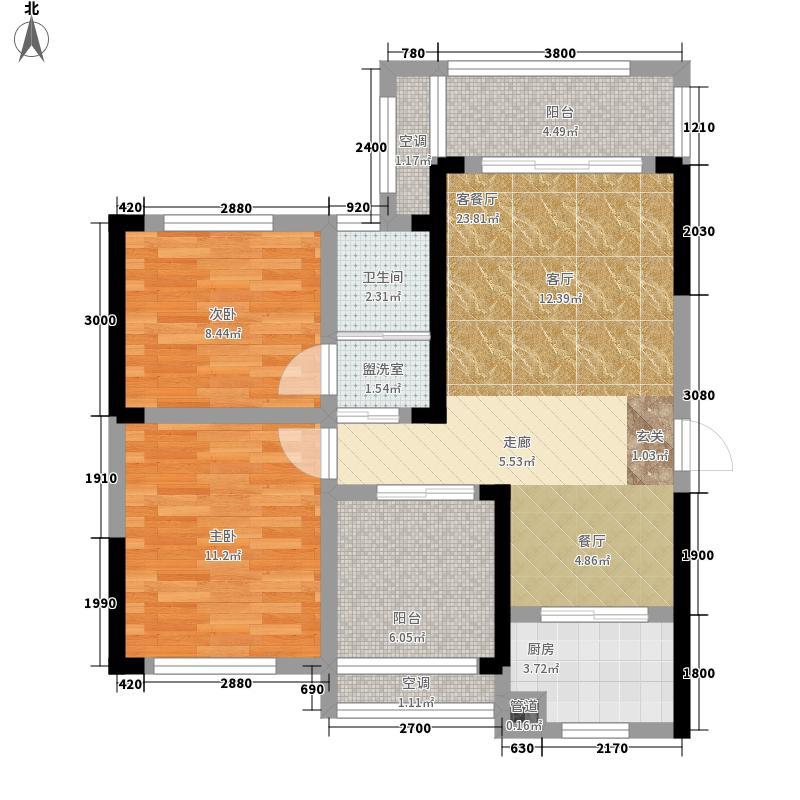 印山蓝色海岸84.74㎡8474/C3户型2室2厅