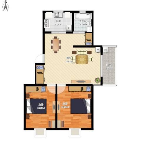 盛世虹桥2室1厅1卫1厨97.00㎡户型图