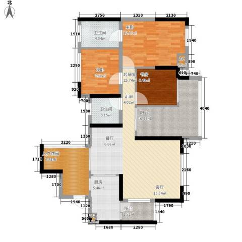 朵力尚美国际3室0厅2卫1厨100.00㎡户型图