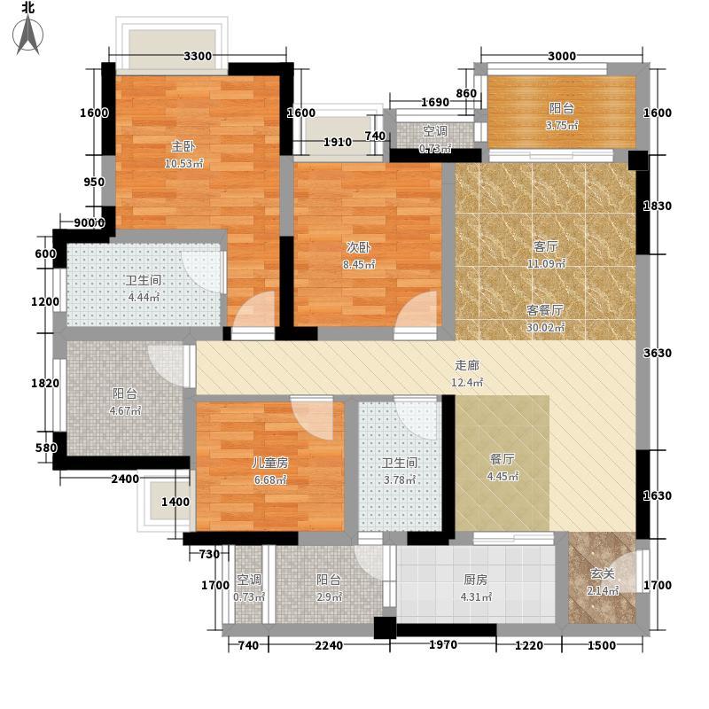 保利观澜87.21㎡一期1、2、3号楼标准层A1户型