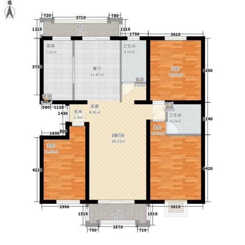 檀香湾3室0厅2卫1厨152.00㎡户型图