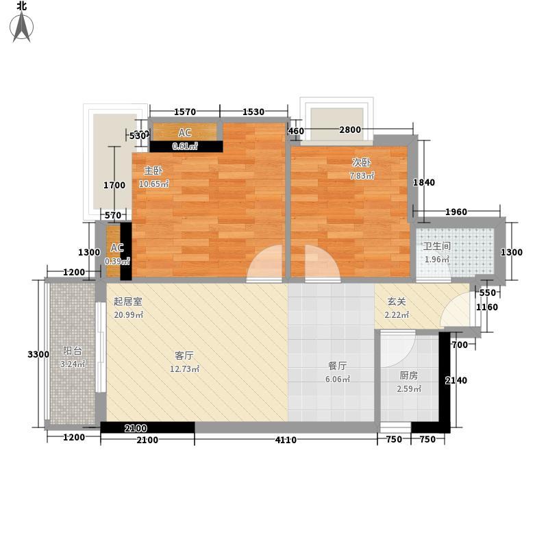 天惠嘉园79.63㎡04单元2室1面积7963m户型