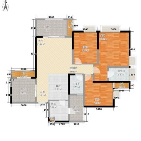 阿特豪斯3室0厅2卫1厨124.38㎡户型图