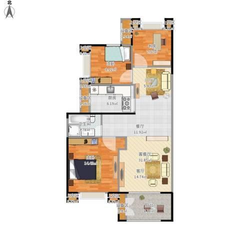 绿地海域苏河源3室1厅1卫1厨112.00㎡户型图