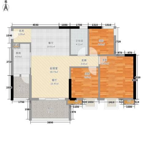 瑜翠园3室0厅1卫1厨89.00㎡户型图