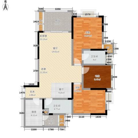 阿特豪斯3室0厅2卫1厨106.59㎡户型图