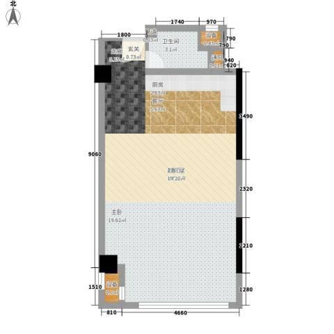 东方明珠商务中心1卫0厨59.00㎡户型图