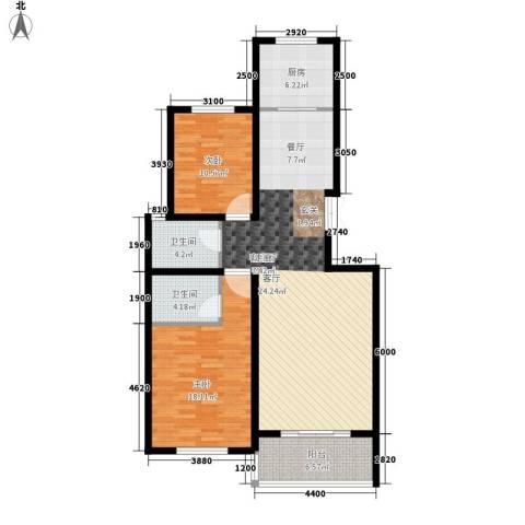 凤凰城2室1厅2卫1厨103.00㎡户型图