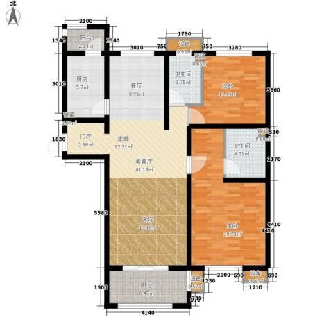 东方太阳城三期琴湖湾2室1厅2卫1厨147.00㎡户型图