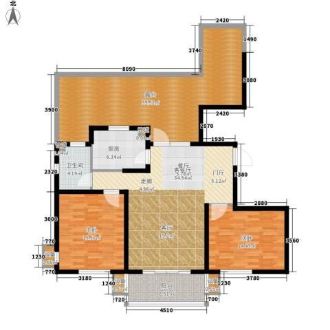 东方太阳城三期琴湖湾2室1厅1卫1厨119.55㎡户型图