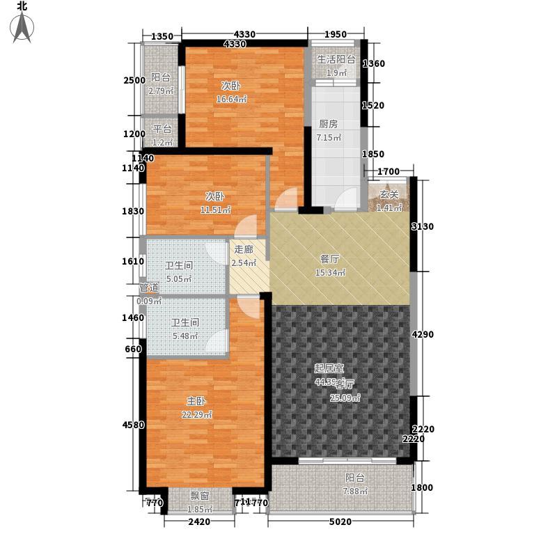东方至尊139.74㎡1、2#豪门官邸平层高厅A1户型3室2厅