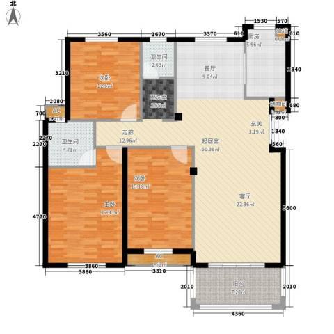 尚南华庭3室0厅2卫1厨132.00㎡户型图