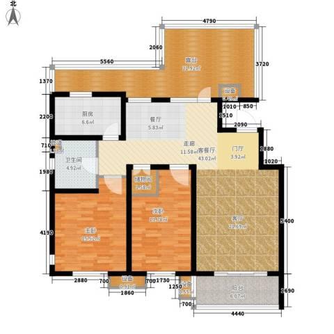 东方太阳城三期琴湖湾2室1厅1卫1厨115.48㎡户型图