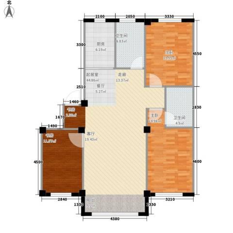 意利黄海明珠3室0厅2卫1厨139.00㎡户型图