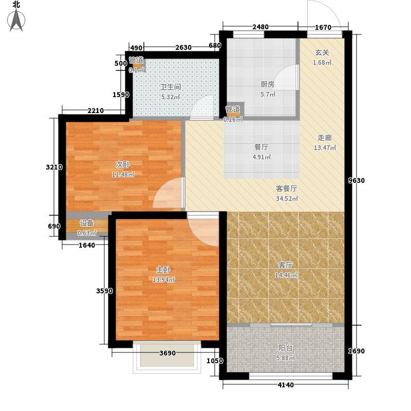 鸿泰锦园85.00㎡罗马假日A1户型2室2厅