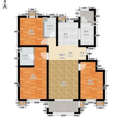 东方太阳城三期琴湖湾3室1厅2卫1厨142.00㎡户型图
