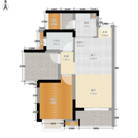 星河盛世1室1厅1卫1厨67.04㎡户型图