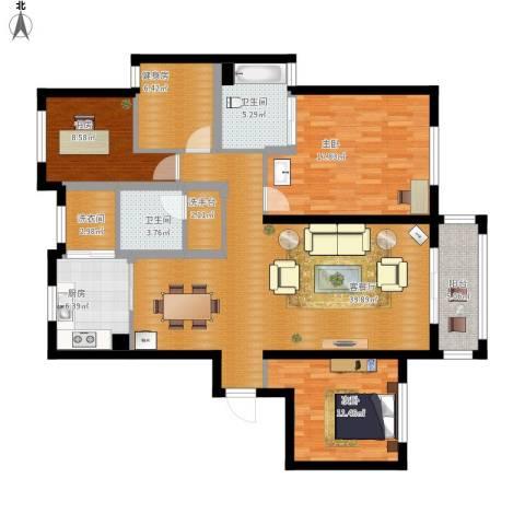 阳光新城花园3室1厅2卫1厨160.00㎡户型图