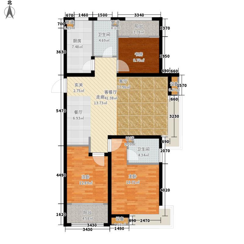 鸿泰锦园126.00㎡罗那新抵D2户型3室2厅