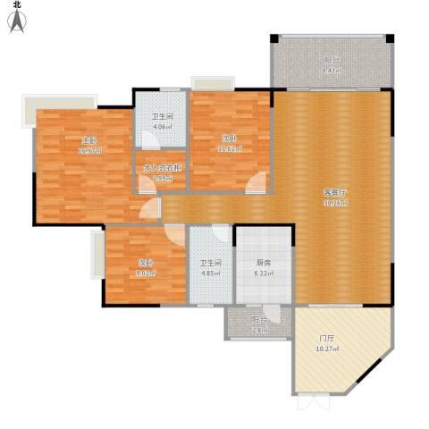 海悦新城3室1厅2卫1厨155.00㎡户型图