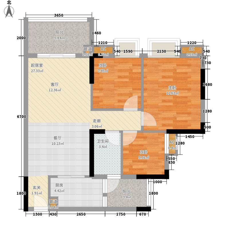 瑜翠园88.76㎡锦苑3座04单元3室面积8876m户型
