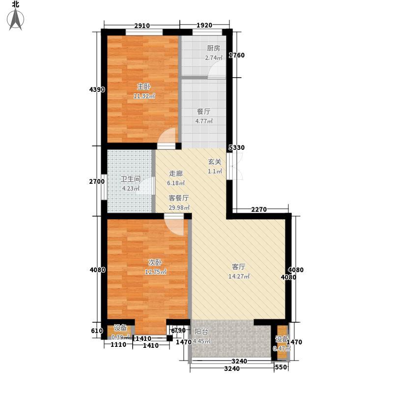 紫澜香郡86.42㎡高层E户型2室2厅