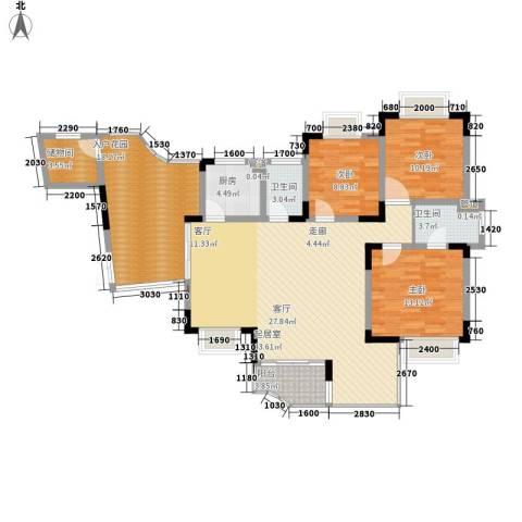 同创奥韵3室0厅2卫1厨128.00㎡户型图