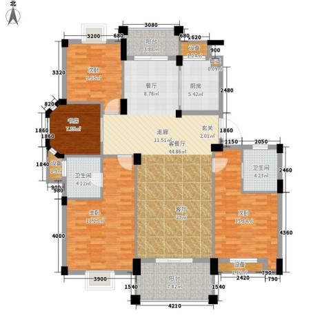 万里阳光水岸4室1厅2卫1厨155.00㎡户型图