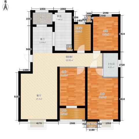 天津滨海现代城3室1厅2卫1厨98.90㎡户型图