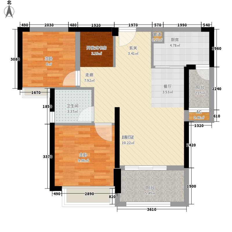 海赋江城84.88㎡2、5、7、9、11号楼D户型2室2厅