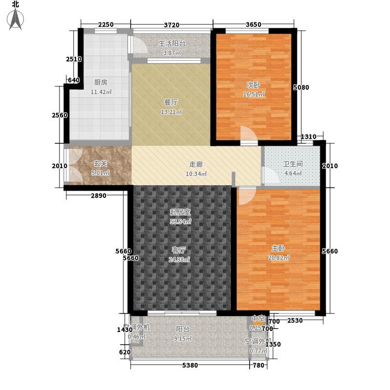 东方至尊133.35㎡1、2#豪门官邸平层高厅A3户型2室2厅