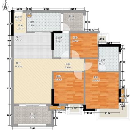 瑜翠园3室0厅2卫1厨106.00㎡户型图