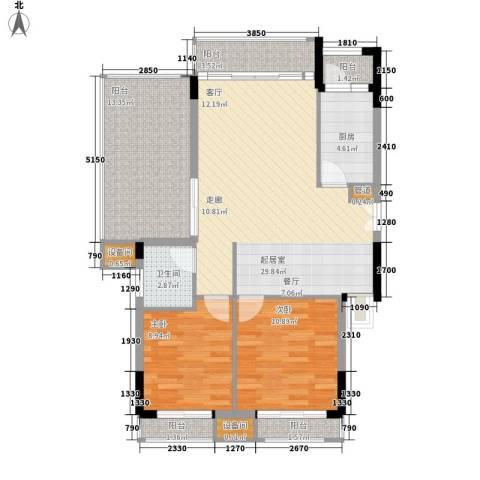 康田紫悦府2室0厅1卫1厨79.97㎡户型图