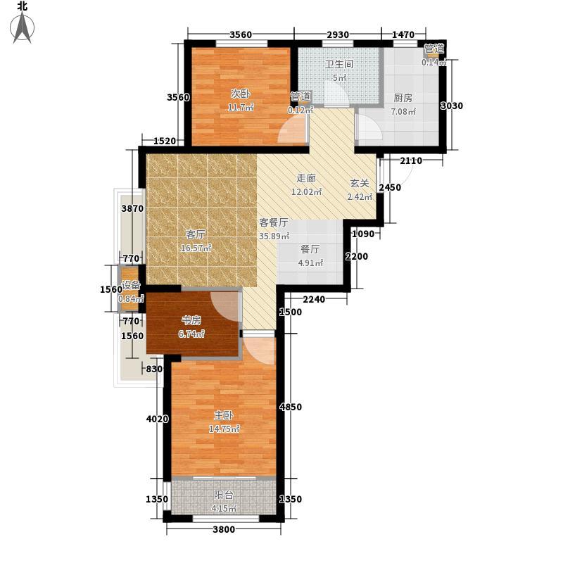 鸿泰锦园91.00㎡卢浮美域C1户型3室2厅