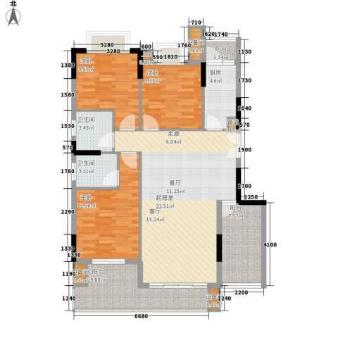 康田紫悦府3室0厅2卫1厨96.06㎡户型图